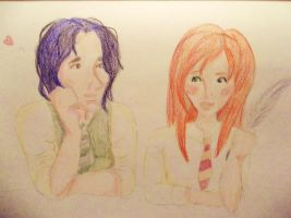 Snape and Lily sketch by Kelly-ART