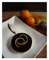 Chocolate Tart with mandarin pastry by Drac0ntias