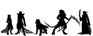 Silhouettes of Kyriae Characters by Zaebrael
