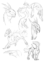 Dragon doodles by Aivomata