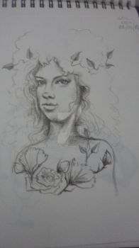 girl with flowers by THEALEJANDRAART