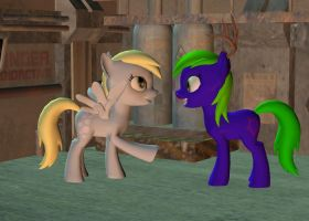 Derpy and Yamino by Solomen