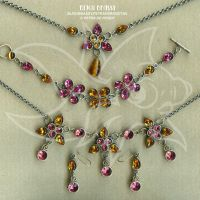 Pink and topaz sets by spaceship505