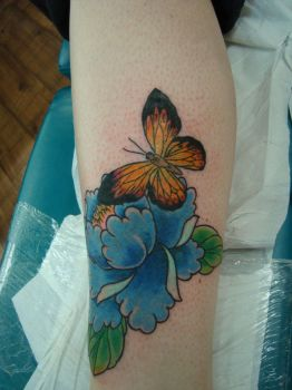 peonny and butterfly tattoo by AsatorArise