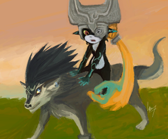 'Giddy-up' +Link and Midna by khchibi-lurver