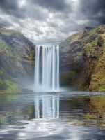 Moody Waterfall Premade Background by little-spacey