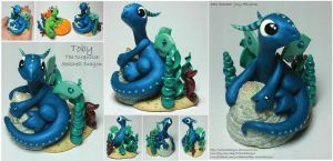 Toby the Turquoise Seashell Dragon by lizzarddesigns