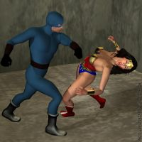 Wonder Woman KOed by the Blue Wrangler, Pic 1 by gytalf2000