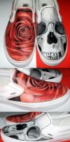 skull and rose shoes by mishra1218