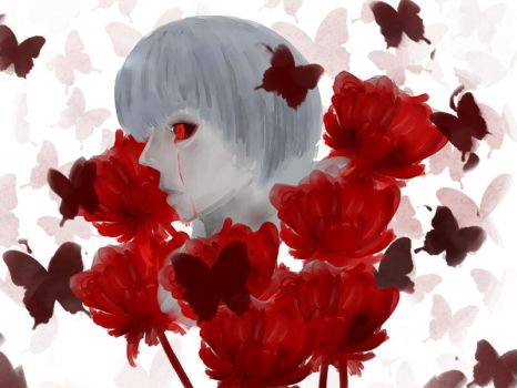 Kaneki in the Garden of Red by xsakuralix12