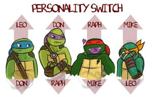 Tmnt Personality Switch on turtles by Dragona15