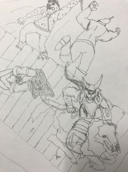 Rampart rampage story + sketch, no colors by Ihsan997