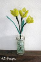 Beaded Flowers - Yellow Tulips by PurlyZig
