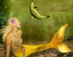 Yellow Mermaid and the dolpin making dance for by annemaria48