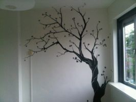 Black ink tree mural by morninghasbroken