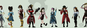 STEAMPUNK GIRLS FROM TF2 - SI by LadyWaflles