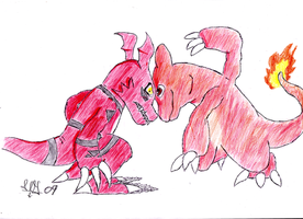Guilmon vs Charmeleon by Animally