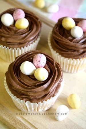 Easter Nest Cupcakes by claremanson