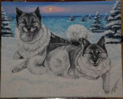 Elkhound Painting by Treekami