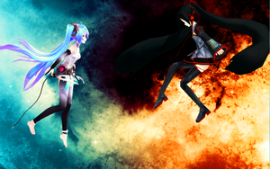 Zatsune vs. Hatsune Background by MikaAlaMode