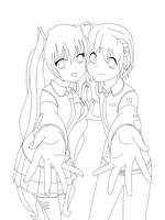 .:Brothers Hatsune:. Lineart by Sakura1885