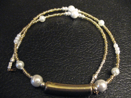 Gold and White Holiday Necklace by sampdesigns