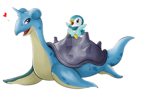 Lapras and Piplup by Kasumy-Chan