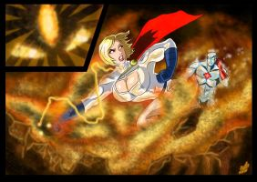 Powergirl and Captain Atom - Flame of Py'tar (2) by adamantis