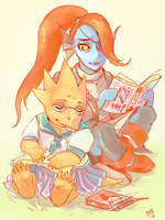 Alphys and Undyne by aliencake