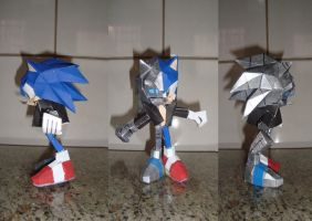 Cyborg Sonic Papercraft by augustelos