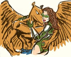Merv the Griffin and Emerald Valkyrie by TheCosmicBeholder