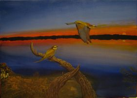 """""""Bee-eaters in the lagoon"""" by tatopainting"""