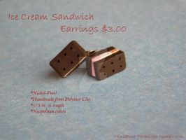 Neapolitan Ice Cream Sandwich Stud Earrings by Wintaria