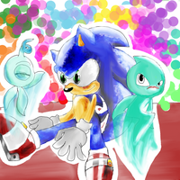 sonic colors-wisps and sonic by RetroTrickster
