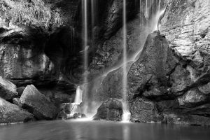 Roughting Linn Waterfall b/w by scotto