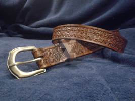 Tooled Leather Belt A002 by mcd-82