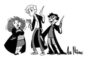 Harry, Ron, and Hermione by saxitlurg