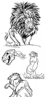 Sharpie Sketches - Big Cats by ColossalBeltloop