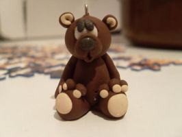 polymer clay bear charm by Maca-mau