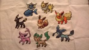 Evoli et ses evolutions / Eevee and its evolutions by MykaStitcher
