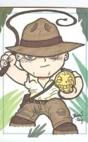 Chibi-Indiana Jones Sketchcard by hedbonstudios