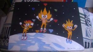 Super Sonic, Shadow and Silver painting by Chaoslink1