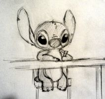 Stitch likes drawing too by CartoonBoyfriends