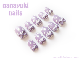 purple dot nails by Nanayuki