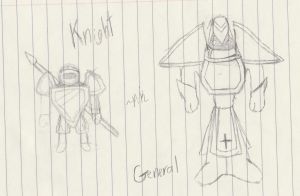 Knight And General Quick Sketch's by PikminHensley