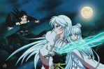Sesshomaru and Yukikos by AthanStudios