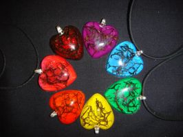 Resin Heart Necklaces by Ethereal-Beings