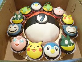 Pokemon cake and cupcakes by zariway
