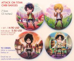 Attack on Titan badges - Open for Order! by Keyade