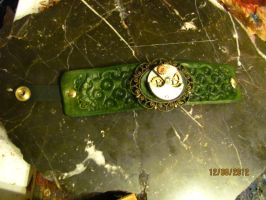 Leather Bracelet with Steampunk Cameo by StudioGruhnj